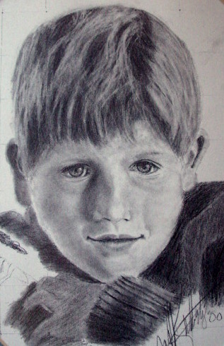 Pencil Drawing of a Young Boy