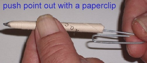 using a paperclip to push-out a tortillion tip
