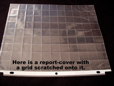 report-cover with a grid etched onto it