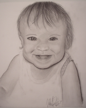 Pencil drawing of a toddler
